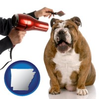 arkansas map icon and a dog being groomed with a comb and a hair dryer
