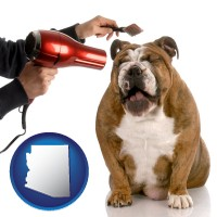 arizona map icon and a dog being groomed with a comb and a hair dryer