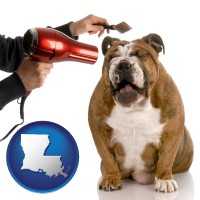 louisiana map icon and a dog being groomed with a comb and a hair dryer
