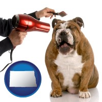 north-dakota map icon and a dog being groomed with a comb and a hair dryer