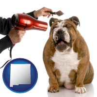 new-mexico map icon and a dog being groomed with a comb and a hair dryer