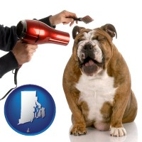 rhode-island map icon and a dog being groomed with a comb and a hair dryer