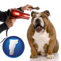 vermont map icon and a dog being groomed with a comb and a hair dryer